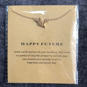 Happy Future Crane necklace 14k gold dipped